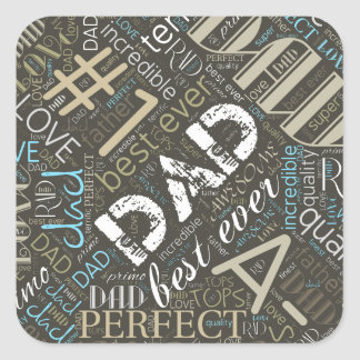 Best Ever Dad Word Cloud ID263 Square Sticker