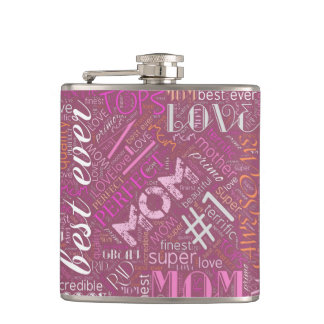 Best Ever Mom Word Cloud ID262 Hip Flask
