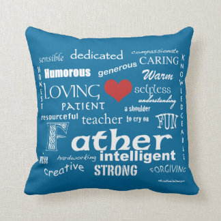 Best Father Attributes-Red Heart/Personalize Throw Pillow