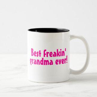 Best Freakin Grandma Ever (Pink) Two-Tone Coffee Mug