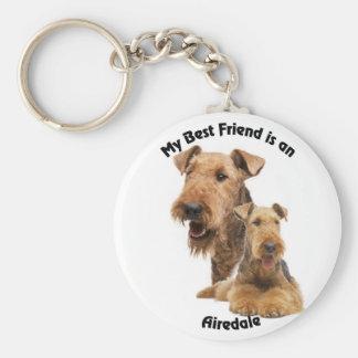 Best Friend Airedale Basic Round Button Keychain