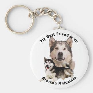 Best Friend Alaskan Malamute Basic Round Button Keychain