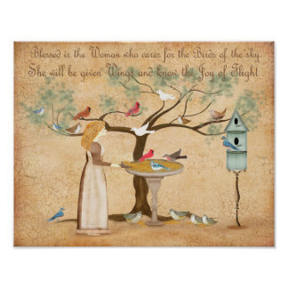 Best Friend BFF animal lover woman birds feeder Poster