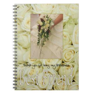 Best Friend Bridesman thank you Note Books