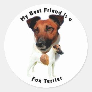 Best Friend Fox Terrier (Red/White) Classic Round Sticker