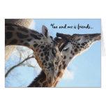 best friend funny birthday card, talking giraffes