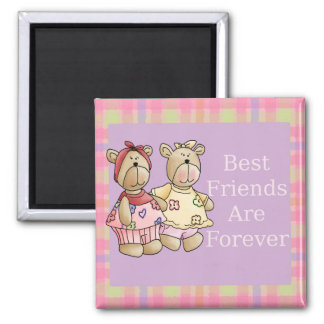 Best Friend Teddys Square Magnet