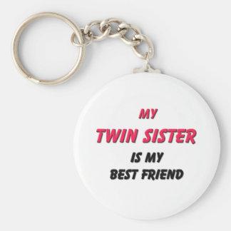 Best Friend Twin Sister Basic Round Button Keychain