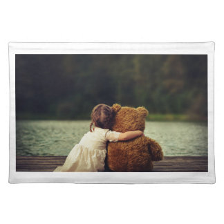Best Friends A Little Girl and Her Teddy Bear Place Mats