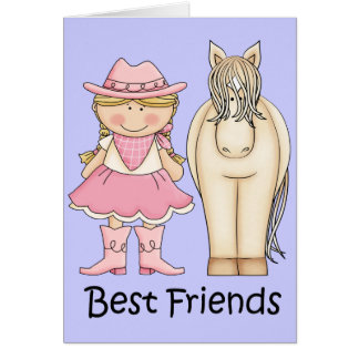 Best Friends - Blond Cowgirl and Horse Card