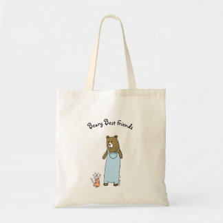Best Friends Cat and Bear Art Tote Bag