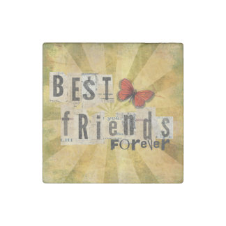 Best Friends Collage Word Cutout Vintage Butterfly Stone Magnets
