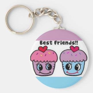 Best Friends Cupcakes Basic Round Button Keychain