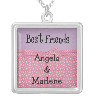 best friends customize silver plated necklace