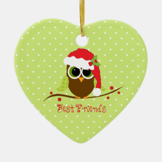 Best Friends Cute Christmas Owl Heart Ornament