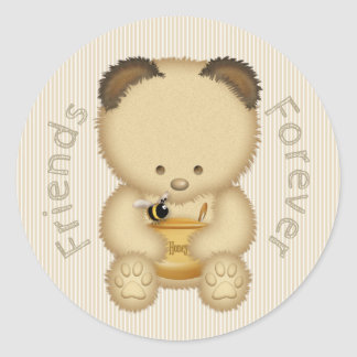 Best Friends Cute Honey Bear Classic Round Sticker