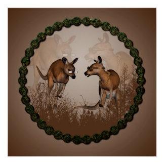 Best friends, cute kangaroos perfect poster