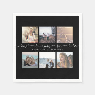 Best Friends for Life Instagram Photo Typography Disposable Napkins