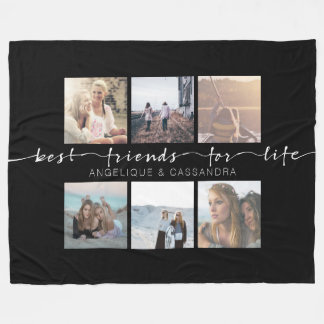 Best Friends for Life Instagram Photo Typography Fleece Blanket