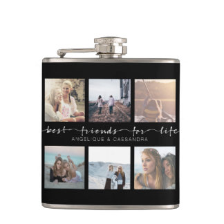 Best Friends for Life Instagram Photo Typography Hip Flask