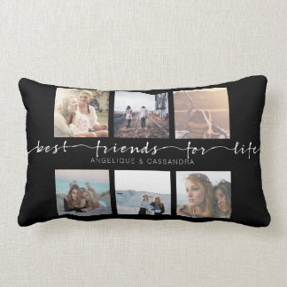 Best Friends for Life Instagram Photo Typography Lumbar Pillow