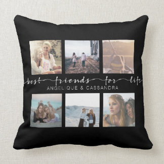 Best Friends for Life Instagram Photo Typography Throw Pillow