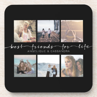 Best Friends for Life Typography Instagram Photo Coaster
