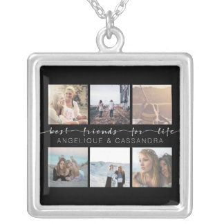 Best Friends for Life Typography Instagram Photo Silver Plated Necklace