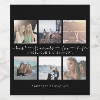 Best Friends for Life Typography Instagram Photo Wine Label