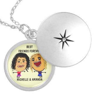 Best Friends Forever BFF Cartoon Silver Plated Necklace