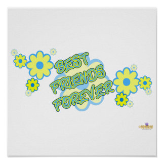 Best Friends Forever Blue Yellow Flowers Print