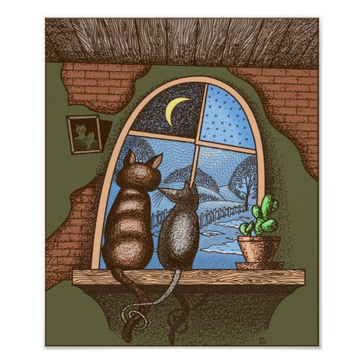 Best friends forever, cat and mouse, print