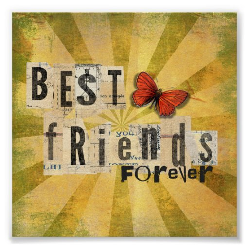 Best Friends Forever Collage Art Butterfly Print