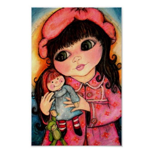 Best Friends Forever! Dolly, Me and Teddy Makes 3 Print