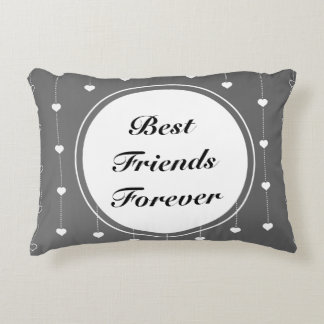 Best Friends Forever Grey & White Hearts Decorative Pillow