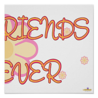Best Friends Forever Orange Pink Flowers Part 2 Print
