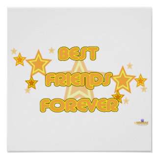 Best Friends Forever Orange Yellow Stars Posters