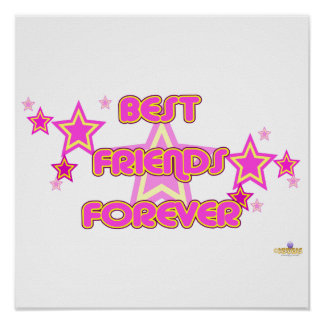 Best Friends Forever Pink Yellow Stars Posters