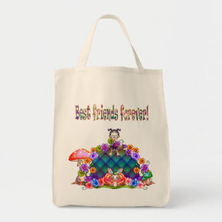 Best Friends Forever Pixel Art Grocery Tote Bag