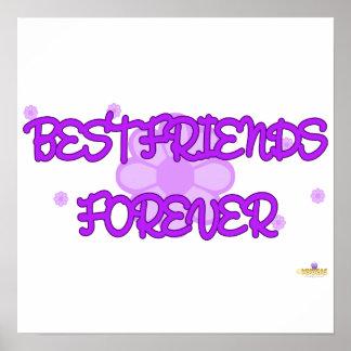 Best Friends Forever Purple Lt Flowers Posters