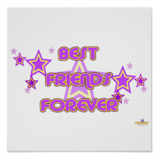 Best Friends Forever Purple Yellow Stars Posters