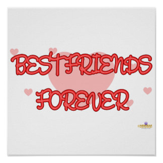 Best Friends Forever Red Lt Hearts Print