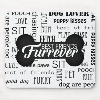 Best Friends Furrever Black and White Dog Bone Mouse Pad