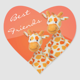 Best Friends Giraffes Heart Sticker