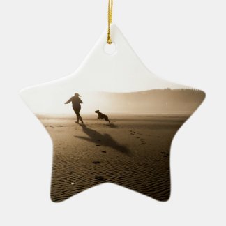 Best Friends Girl and Dog on Beach Ceramic Star Ornament