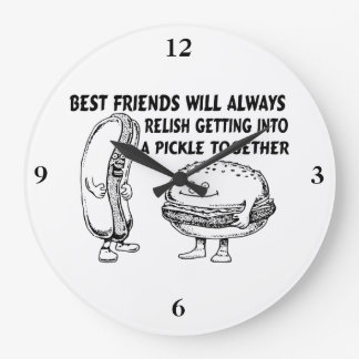 Best Friends Hamburger & Hotdog Trouble Large Clock