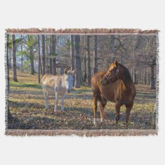 Best Friends Horse and Donkey Throw Blanket