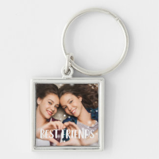 Best Friends Photo Silver-Colored Square Keychain