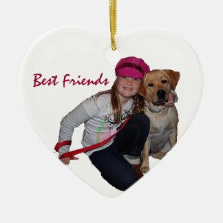 Best Friends-Pretty Girl & Puppy Ceramic Heart Ornament