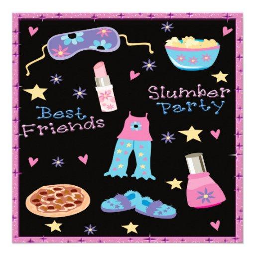 Best Friends Slumber Party Sleepover Custom Invite